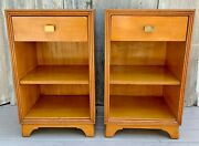 Vintage Pair Mid Century Drexel Ojoche Blonde Mahogany Night Stands Tables 1948