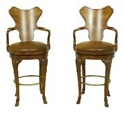 32846ec Pair Century Swivel Bar Counter Chairs W. Leather Seats