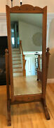 Antique Cheval Standing Maple Framed Mirror