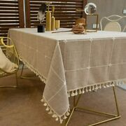 Tewene Tablecloth Rectangle Table Cloth Cotton Linen Wrinkle Free Anti-fading E