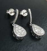 18ct White Gold Diamond Drop Earrings .75ct Dangle Drop Cluster Studs Cocktail