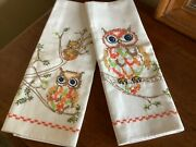 2 Vintage Hand Embroidered Owl Design Linen Dish Towels 28andrdquox16andrdquo New Never Used