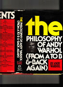 The Philosophy Of Andy Warholfrom A To B Signed By Warhol 1975 Hb/j 1st/2nd Fn
