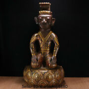 30.4 Old China Bronze Gilt Ware Dynasty Double Sides Kneel People Lotus Statue