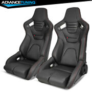 Bucket Racing Seat Reclinable Pair Dual Slider Black Pu Carbon Leather