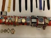 Vintage Watches Mixed Lot Gold Filled Bezels, Elgin Bulova And New Bands