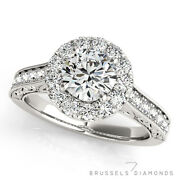 1.13 Ct F/si1 Natural Diamond Halo Engagement Ring Round Cut 14k White Gold