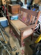 Antique Mission Arts Crafts Style Furniture Bench