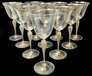 10 Venetian Gold-flecked White Wine Or Water Goblets Twisted Stem Design C1960