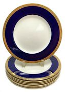 8 Crown Ducal Blue And Gold Dinner Plates C1930