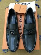 New Louis Vuitton Mens Grey Leather Major Loafers Shoes Uk 9.5 Us 10.5 Eu 43.5