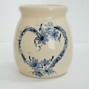 1992 Marshall Pottery Utensil Crock Heart By Kenneth Wingo + Hand Painted/signed