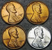 1937-s 1938 1943 1942 Lincoln Cent Wheat Penny Gem Bu++ Condition N353