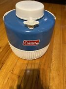 Vintage Rare 1978 Coleman 1 Gallon Blue And White Metal/plastic Water Cooler Jug