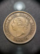 1858 Canada Large One Cent Choice Xf Coin Victoria Broken Vine Medal Alignment