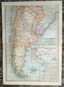 Antique Map Of South America Argentina Chile Buenos Aires Montevideo 1903