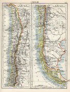 Map South America Chile Northern Southern W And Ak Johnston 1902 Original Antique