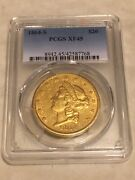 1864-s 20 Pcgs Xf45 Liberty Double Eagle Gold Coin Very Nice Great Appeal