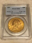 1897 Ms61 Pcgs 20 Double Eagle Liberty Gold Coin Very Nice Coin Nice Appeal Obl