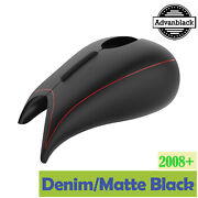 Denim Black Stretched Tank Cover Pinstripes For Harley Street Road Glide 08+