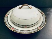 Antique Noritake Chanbard. Pink Roses, Gray Scrolls, Round Covered Butter Dish.
