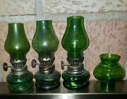 """Vintage Lot Of 3 Small Mini Oil Lamps Glass Green - Aporox. 4"""" Tall"""