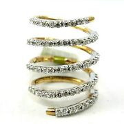 Natural Round Diamond Wrap Bypass Ladyand039s Ring Band 18k Yellow Gold 1.54ct