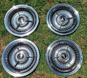 Vintage Lincoln Spinner Hubcaps Wheel Covers Rare