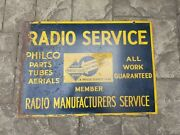 Vintage Original Philco Radio Service Painted Steel Double Sided Sign