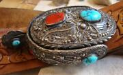 Very Old Native American Sterling Turquoise Coral 4 Spur Belt Buckle 85.7g