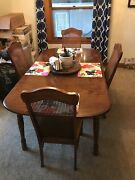 Vintage Keller Furniture Wooden Kitchen Table And Chairs With Removable Leaf