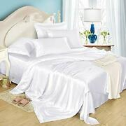 4pcs Silk Bed Sheets Flat Sheet Fitted Sheet Oxford Pillowcases Set King White