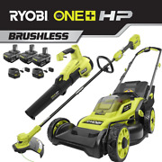 One+ Hp 18-volt Lithium-ion Cordless Battery Walk Behind Push Lawn Mower/trimmer