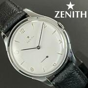 Zenith Hand Winding Antique Menand039s Watch White Cal.40 Leather Used Excellent