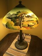 Antique Hand Painted Lamp W/reverse Painted Shade Pittsburgh Great Condition