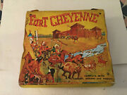 Vintage Ideal Fort Cheyenne Folding Play Set W Soldiers + Indians Figures