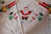 Vintage White Cotton Embroidered Appliqued Santa Christmas Table Cloth 100andtimes 62