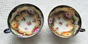 Antique Japanese Tea Cups 2 Beautiful Hand Painted Roses And Decoration Marked