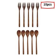 30xnatural Wooden Spoon And Fork Set Kitchen Cutlery Food Saladset Of 10