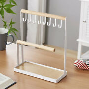 30xjewelry Display Stand Holder With Wooden Tray And Hooks Storage Necklaces