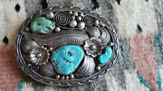 Outstanding Vintage Mike Chee Navajo Sterling Silver And Turquoise Belt Buckle