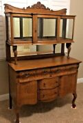 Antique Vintage Shabby Chic Oak Sideboard Buffet China Cabinet Bar Serpentine