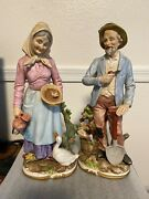 Vintage Homco Old Man And Woman Farmers Couple 13.5 Figurines 8816 Set Of 2