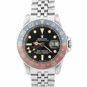 Vintage 1978 Rolex Patina Gmt-master Faded Pepsi Stainless Matte Dial Watch 1675