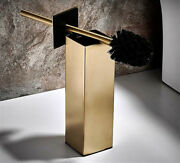 Brushed Gold Free Standing Square Toilet Brush Holder Set Stainless Steel304