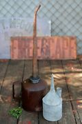 2 Rare Vintage Industrial Oil Cansandmdashlarge Oiler 20andrdquo And Small Galv. Zinc Oil Cans