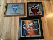 Lot Of 3 Beer Mirrors Signs Red Dog Old Style Bud Light