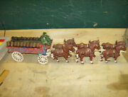 Vintage Cast Iron 6 Horse Drawn Beer Wagon With 22 Barrels, 2 Drivers, 1 Dog