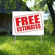 Free Estimates Yard Sign Corrugate Plastic With H-stakes Lawn Sign Auto Repair