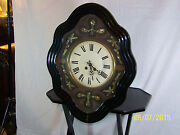 Antique C1870's French Clock Napoleon Iii Ebonized And Mother Of Pearl Wall Clock